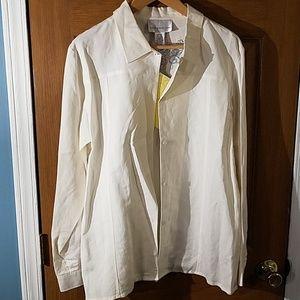 Susan Graver Style Linen Embroidered Shirt Sz L